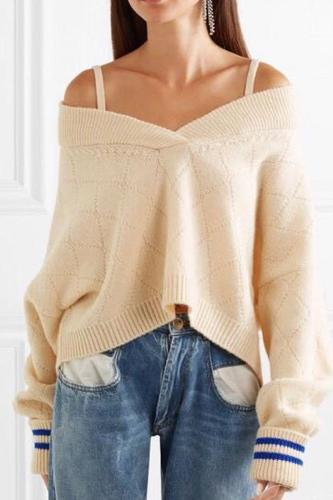 Fashion V-Neck Sling Strapless Sweater