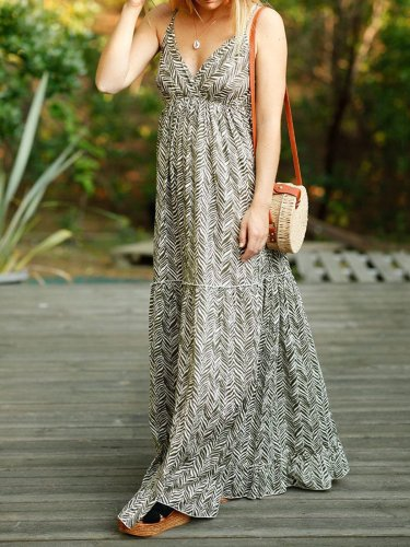 Sleeveless Printed Chiffon Casual Dresses