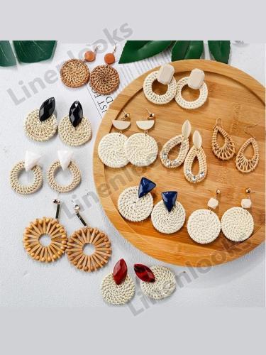 Handmade Bamboo Drop Earrings New Fashion Rattan Vine Knit Long Earrings Women Girl