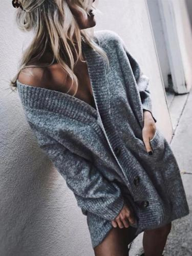 Knit Lazy European And American Style Long Bag Hip Cardigan