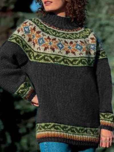 Cotton Long Sleeve Geometric Sweater