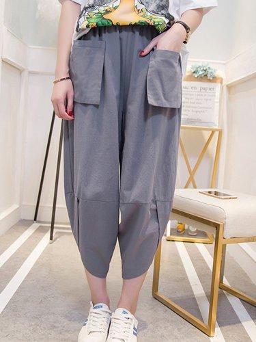 Plus Size Women Solid Casual Pants