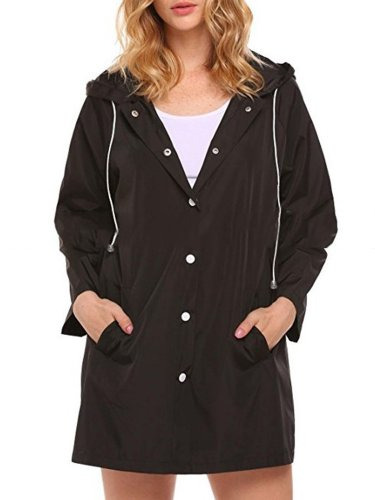 Solid Casual Hoodie Coats Jacket