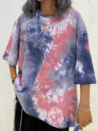 Plus Size Women Vintage Tie Dyed Floral Loose Short Sleeve Casual Tops