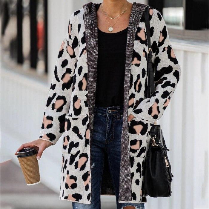 Long Sleeve Leopard Printed Knit Cardigan Coat Open Front Jackets Fashion Streetwear Hooded Sweater