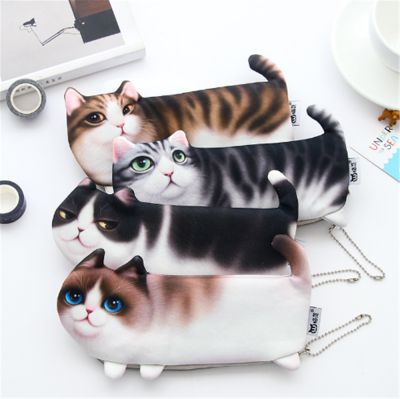 Cartoon Cat Pencil Case Soft cloth School Stationery Pen Bag Gift