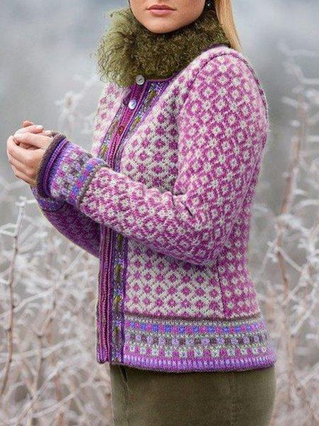 Knitted Printed Long Sleeve Outerwear