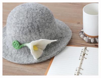 Handmade Wool Felt Hat Short Brim Basin Cap