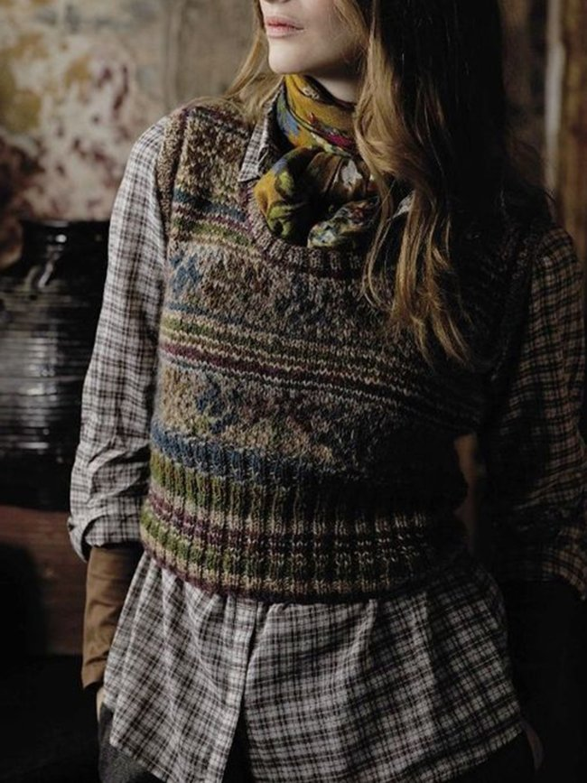 Geometric Vintage Sleeveless Sweater