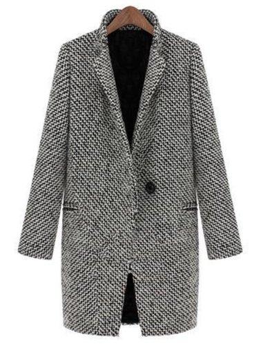 Houndstooth Coat Slim Thick Overcoat
