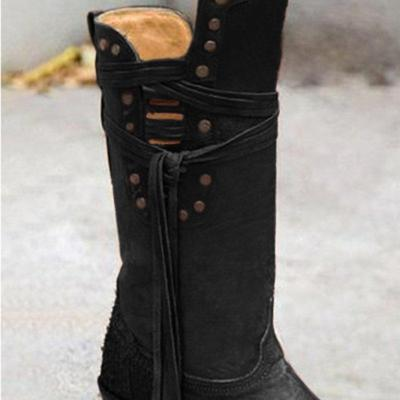 Mid Calf Boots Western Booties Boho V-Open Fringe Shoes