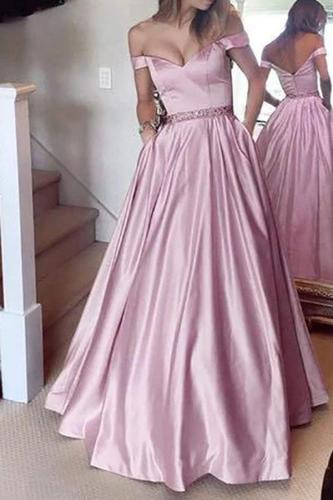 Fashion Off-Shoulder Pure Colour Evening Dress