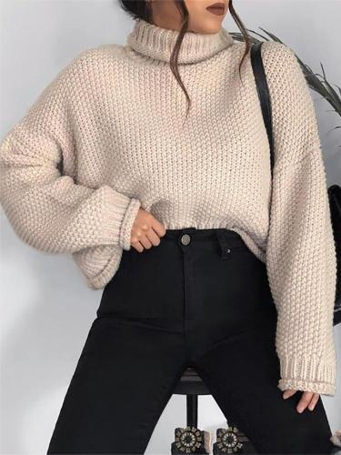 Simple Turtlneck Long Sleeve Loose Solid Color Sweater