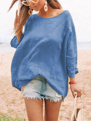 Solid Round Neck Casual Cotton-Blend Shirts & Tops