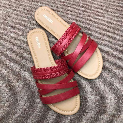 Women Crisscross Buckle Beach Pu Flat Heel Summer Sandals