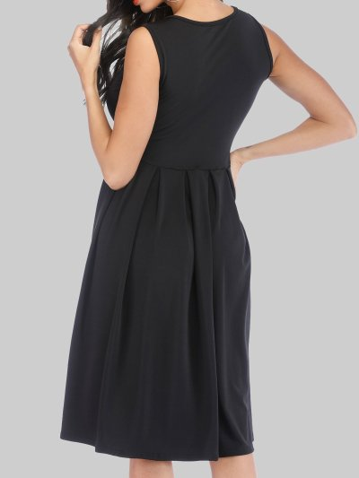 Women Plain Midi Dresses Crew Neck A-Line Daily Casual Dresses