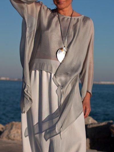 Silk-Chiffon 3/4 Sleeve A-Line Shirts & Tops