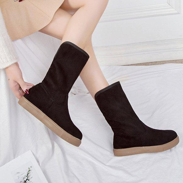 Women's Round Toe Casual Low Heel Boots