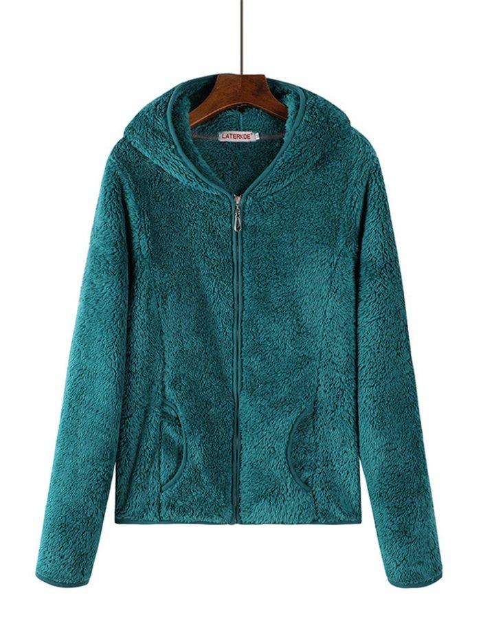 Hoodie Sherpa Coat Solid Zipper Teddy Bear Coats
