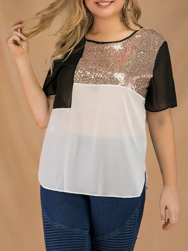 Plus Size Women Short Sleeve Round Neck Sequins Patchwork Loose Casual Tops