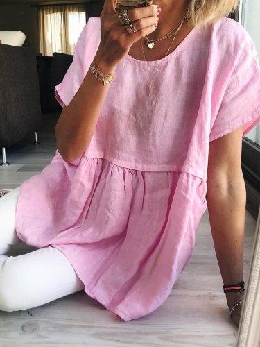 Linen Loose Short-Sleeved Top