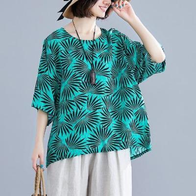 Summer Women Plus Size Cotton Linen Retro Large Size Loose T-Shirt