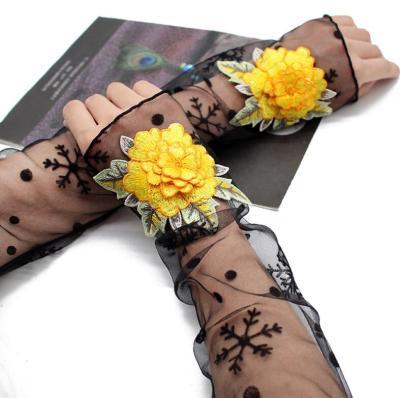 Women's sexy flower embroidery transparent mesh glove female spring summer sunscreen sexy long black glove 50cm R2069
