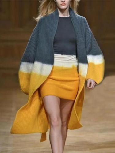 Women's Stitching Long-Sleeved Cardigan