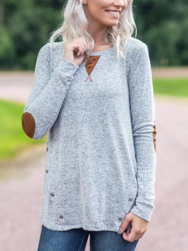 Long Sleeve Printed Cotton Basic Blouse & Shirts
