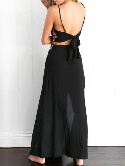 Light the Way Black Slit Two Piece Dress