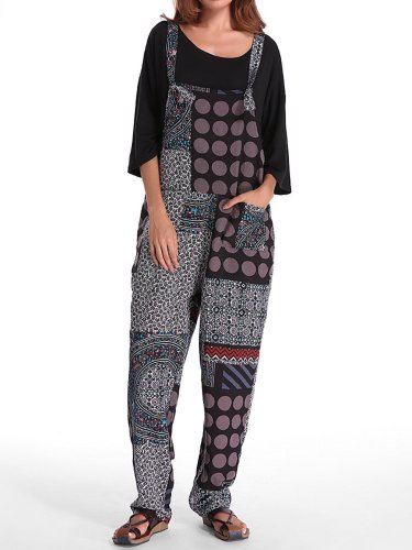 Pockets Casual Patchwork Plus Size Jumpsuit