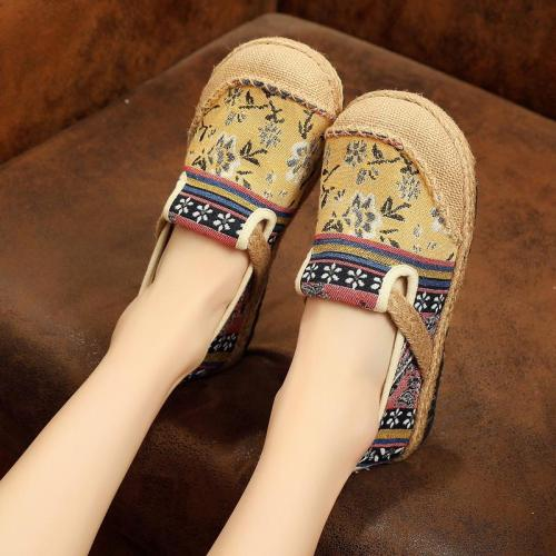 Spring Round Toe Women's Fashion Linen Flats