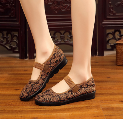 Solid Color Mesh Hollow-out Casual Embroidery Flat Heel Loafers