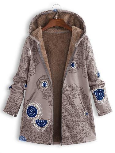Ethnic Print Fleece Zipper Hooded Autumn Winter Coat