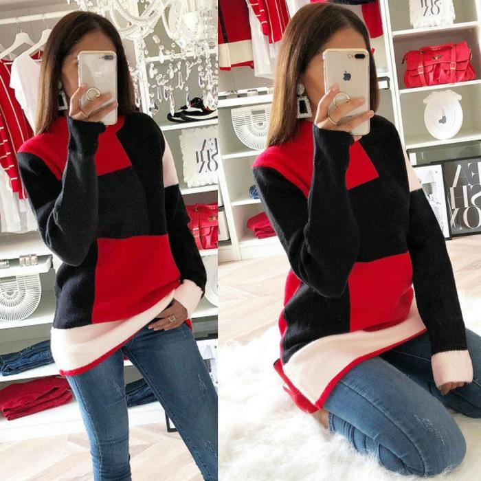 Round Neck Long Sleeve Casual Knitted Sweaters