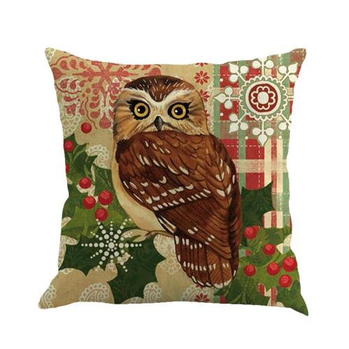 Christmas Linen Pillowcase Cute Cartoon Owl Cushion Cover