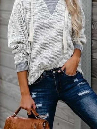 Light Gray Cotton-Blend Mesh Casual Sweatshirt