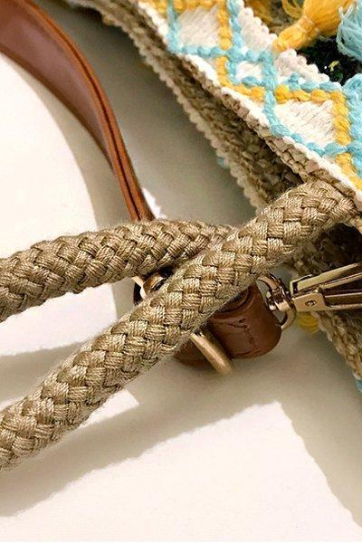 Pineapple Print Tassel Zipper Woven Straw Tote Bag