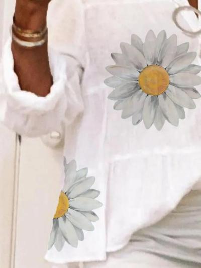 Plus Size Long Sleeve Shirt Collar Cotton Shirts & Tops