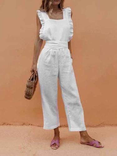 Sexy Backless Sleeveless Linen Jumpsuit