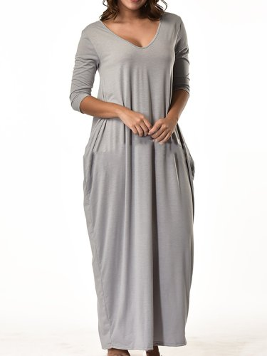 Solid Basic Crew Neck Paneled Casual Dress