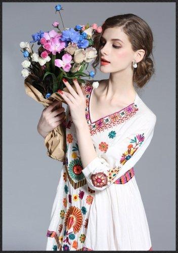 Vintage Embroidery Linen Cotton Loose 3/4 Sleeve V-neck Boho Summer Maxi Dresses