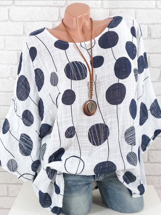 Round Neck Polka Dots Casual Shirts & Tops