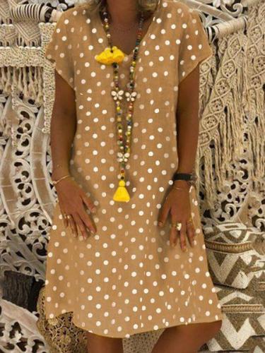V Neck Women Dresses Shift Daily Casual Polka Dots Dresses