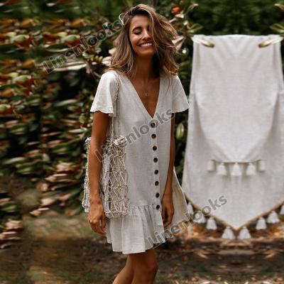2020 Vintage Button Women V neck Short Sleeve Cotton Linen Summer Dresses