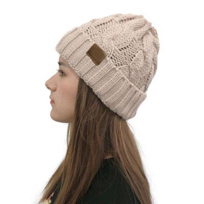Korean Twist Flanging Knitted Cap Winter Warm Brand Skullies Beanies Woolen Yarn Hats for Women Pompom