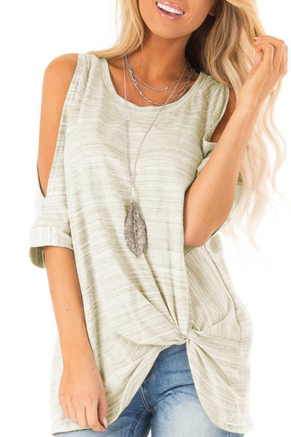 Cold Shoulder Twist Front Stripe T-shirt