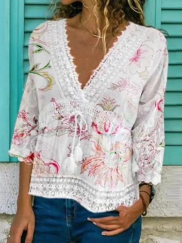V Neck Floral Holiday Shirts & Tops