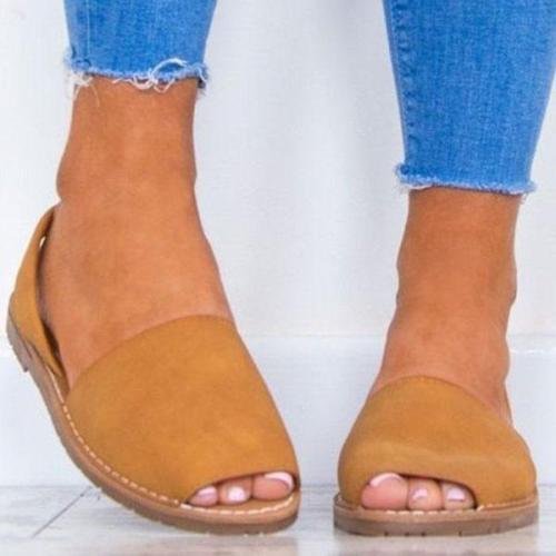 Solid Color Slip on Espadrilles Flip Flop Flats Sandals