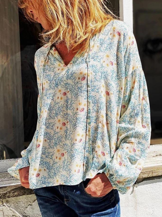 Long Sleeve Casual Floral-Print Shirts & Tops